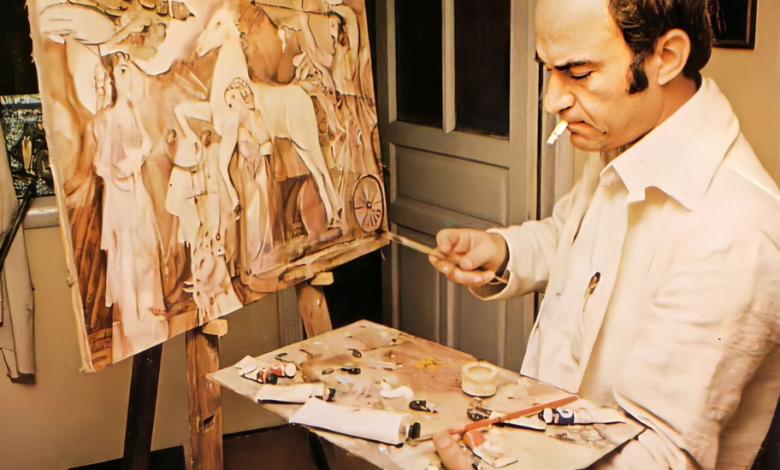 صورة الفنان أحمد مادون في مرسمه عام 1980