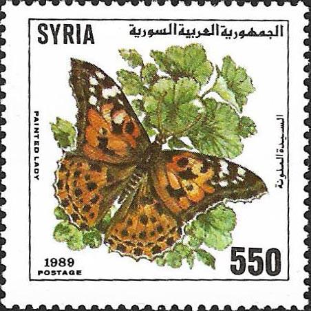 طوابع سورية 1989- الفراشات
