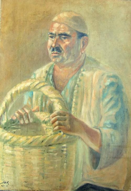 رجل مع سلة .. لوحة للفنان محمود حماد (4)