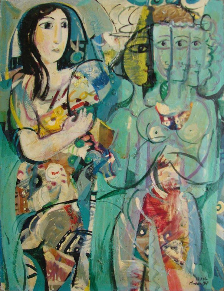 لوحة امرأة ووجوه للفنان أحمد مادون عام 1977 (37)