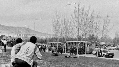 صورة إيقاف الحافلات التي كانت تنقل الأكراد في دمشق للإحتفال بعيد النيروز عام 1986