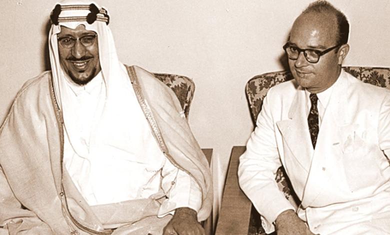 صورة خليل كلاس مع الملك سعود بن عبد العزيز في دمشق عام 1956