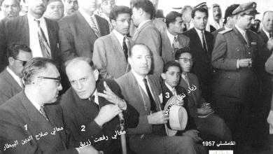 صورة صلاح البيطار ورفعت زريق محافظ الحسكة في قرية زنود – القامشلي 1957