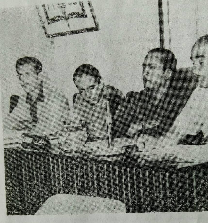 مروان حبش وعبد الحميد المقداد في مؤتمر الاتحادات الصناعية عام 1969م