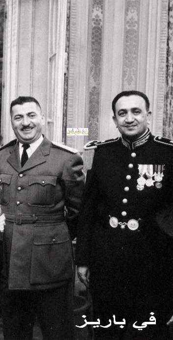 الزعيم توفيق نظام الدين والمقدم عبد الكريم زهر الدين في باريس 1955
