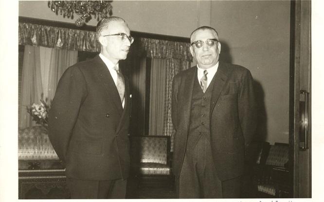 صورة سعيد السيد مع الرئيس ناظم القدسي عام 1961