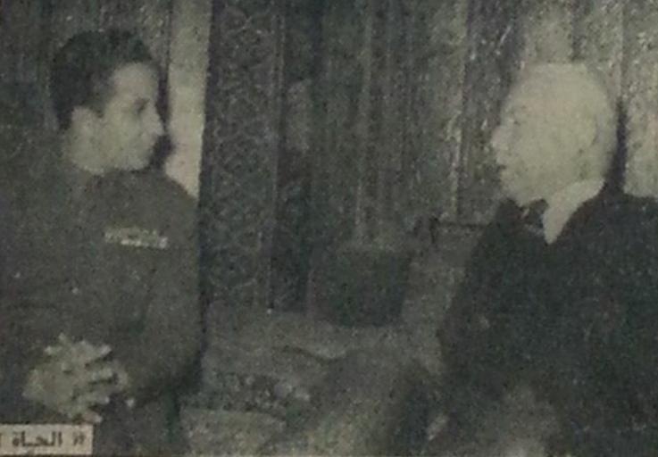اجتماع فارس الخوري مع الملك العراقي في بيروت عام 1954