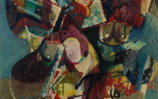 صورة لوحة تكوين للفنان أحمد مادون عام 1977 (38)