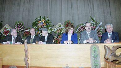 صورة حفل تكريم الفنان سعيد مخلوف في مكتبة الأسد بدمشق عام 2000