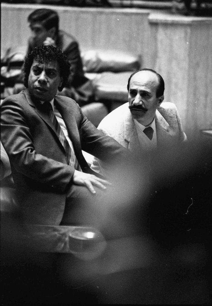 ياسين بقوش ويوسف حرب في مهرجان دمشق المسرحي عام 1988