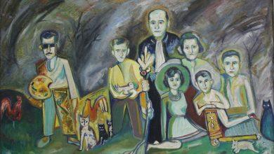 صورة العائلة في الحديقة .. لوحة للفنان حسان أبو عياش (2)