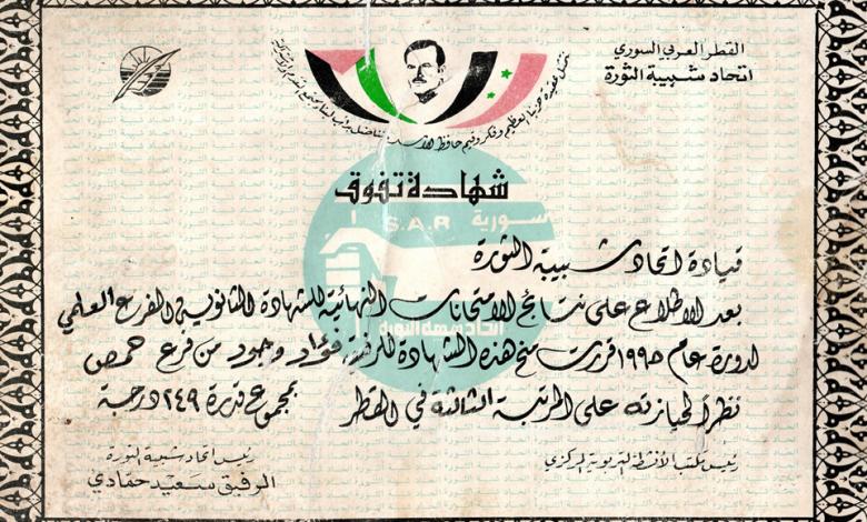 صورة شهادة تفوق للطالب فؤاد وحود عام 1995