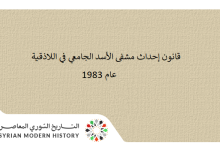 صورة قانون إحداث مشفى الأسد الجامعي في اللاذقية عام 1983