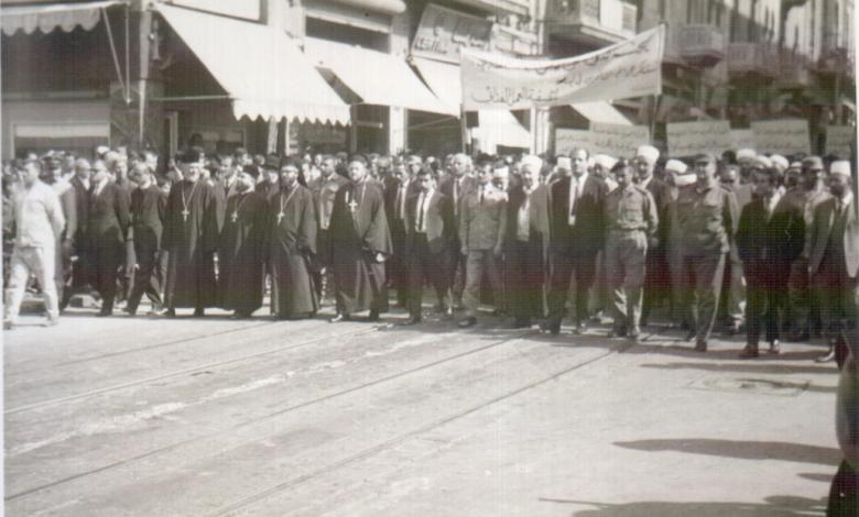 صورة حلب 1969- مسيرة استنكار ضرب العمل الفدائي في لبنان (1)