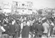 صورة شارع السبع بحرات في حلب 1969- مسيرة استنكار ضرب العمل الفدائي في لبنان (2)