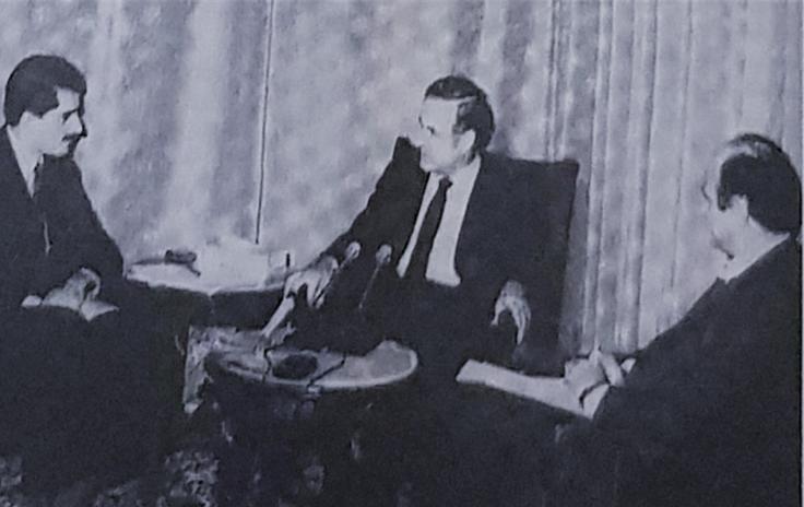 صورة مقابلة حافظ الأسد مع صحيفة النهار عام 1982