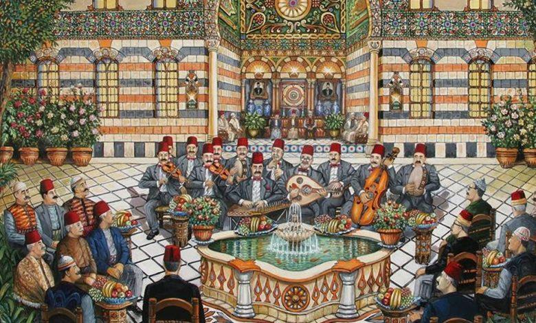 صورة سهرة مع جوقة تراثية .. لوحة للفنان نذير بارودي (1)
