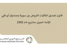 صورة قانون تصديق اتفاقيات القروض بين سورية وصندوق أبو ظبي للإنماء لتمويل مشاريع عام 1992